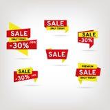 Reeks stickers en banners Stock Foto's