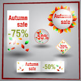 Reeks stickers en etiketten voor de de herfstverkoop Stock Foto