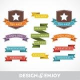 Reeks stickers en linten Royalty-vrije Stock Afbeelding