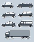 Reeks stickers met autobeeld Royalty-vrije Stock Fotografie