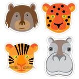 Reeks stickers met de hoofden van dieren in Krabbelstijl op whi Stock Foto's