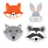 Reeks stickers met de hoofden van dieren in Krabbelstijl op whi Stock Afbeelding