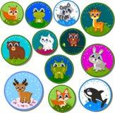 Reeks stickers met dieren Vector illustratie Royalty-vrije Stock Afbeelding