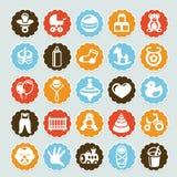 Reeks stickers met jonge geitjes en speelgoed Royalty-vrije Stock Afbeeldingen