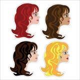 Reeks stickers met meisje, Royalty-vrije Stock Fotografie