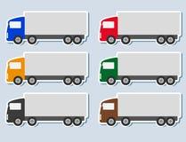 Reeks stickers met vrachtwagensilhouet Stock Foto's