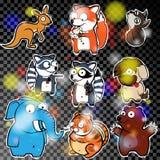 Reeks stickers met wilde dieren Stock Afbeelding