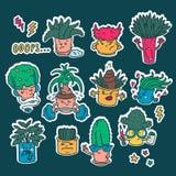 Reeks stickers van de bloempotten van kawaii leuke Emoji Emoties van beeldverhaalkarakters met een wit overzicht stock illustratie