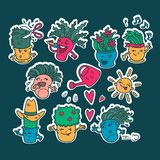 Reeks stickers van de bloempotten van kawaii leuke Emoji Emoties van beeldverhaalkarakters met een wit overzicht royalty-vrije illustratie