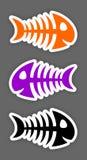 Reeks stickers van de kleurenvisgraat Stock Afbeeldingen