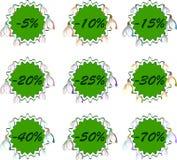 Reeks stickers van de kortingslente voor verkoop Royalty-vrije Stock Foto's