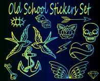 Reeks stickers van de neon oude school Stock Afbeelding