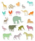 Reeks stickers van dierensilhouetten Stock Fotografie