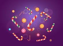 Reeks stickers van het Kerstmissuikergoed op de violette achtergrond Vector illustratie Royalty-vrije Stock Foto's