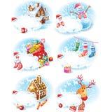 Reeks stickers van Kerstmis Royalty-vrije Stock Foto's