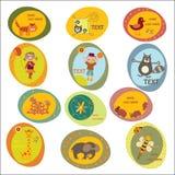 Reeks stickers van kinderen Royalty-vrije Stock Foto's