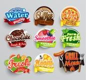 Reeks stickers van voedsel Royalty-vrije Stock Foto's