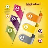 Reeks stickers voor infographics met zaken Stock Foto
