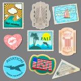 Reeks stickers voor reizigers Stock Afbeeldingen