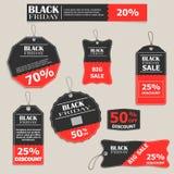 Reeks stickers voor verkoop op Black Friday Vector grafiek Stock Afbeelding