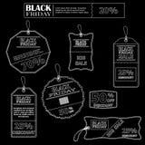 Reeks stickers in zwart-wit voor verkoop op Black Friday Royalty-vrije Stock Afbeeldingen