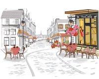 Reeks straatmeningen in de oude stad Architecturale achtergrond met historische gebouwen royalty-vrije illustratie