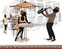 Reeks straatmeningen in de oude stad met mensen stock illustratie