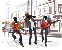 Reeks straatmeningen in de oude stad met musici Stock Foto's
