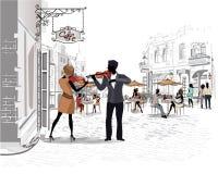 Reeks straten met mensen in de oude stad, straatmusici Royalty-vrije Stock Foto
