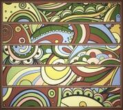Reeks strepen met abstract stammenpatroon. Stock Foto's