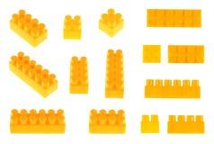 Reeks stuk speelgoed geïsoleerde bouwblokken Royalty-vrije Stock Foto