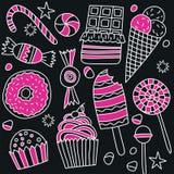 Reeks suikergoed en snoepjes in krabbelstijl royalty-vrije illustratie