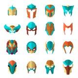 Reeks super heldenmaskers in vlakke stijl Grote superhero van het inzamelingsbeeldverhaal Vector Royalty-vrije Stock Afbeeldingen