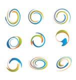 Reeks swirly grunge emblemen Stock Fotografie