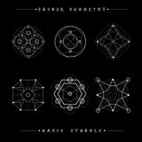 Reeks symbolen en elementen Alchimie, godsdienst, filosofie, spiritualiteit, hipster symbolen en elementen Geometrische vormen stock illustratie