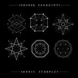 Reeks symbolen en elementen Alchimie, godsdienst, filosofie, spiritualiteit, hipster symbolen en elementen Geometrische vormen royalty-vrije illustratie