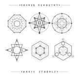 Reeks symbolen en elementen Alchimie, godsdienst, filosofie, spiritualiteit, hipster symbolen en elementen Geometrische vormen vector illustratie