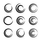 Reeks symbolen en pictogrammen van abstracte cirkels stock illustratie