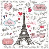 Reeks symbolen van Parijs, het van letters voorzien Hand getrokken krabbel Stock Fotografie