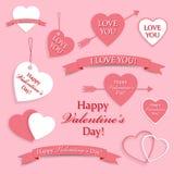 Reeks symbolen voor Valentijnskaartendag Stock Foto