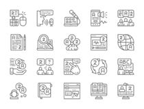 Reeks Taal Vertaallijnpictogrammen Onderwijs, Praatje, E-book, Radio en meer vector illustratie