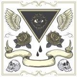 Reeks tatoegering-Kunst ontwerpelementen Royalty-vrije Stock Afbeelding