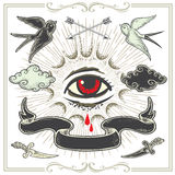 Reeks tatoegering-Kunst ontwerpelementen Royalty-vrije Stock Fotografie