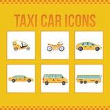 Reeks taxipictogrammen voor websites, presentaties Stock Afbeeldingen