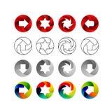 Reeks tekens, in de cirkelvormen met de binnen schaduwen Pijlen, sterren, werveling in cirkel Embleemreeks, vector vector illustratie