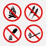Reeks tekens die brand, belemmerd vuurwerk belemmeren, vector illustratie