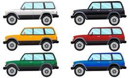 Reeks terreinvoertuigen in zes verschillende kleuren Vector illustratie vector illustratie