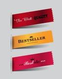 Reeks textiel Bestselleretiketten stock illustratie