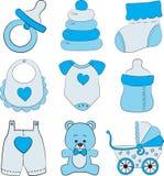 Reeks toebehoren van de babyjongen Stock Afbeelding