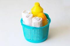 Reeks toebehoren voor baby, de producten van de babyzorg royalty-vrije stock foto's